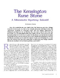 The Kensington Rune Stone: A Minnesota Mystery Solved?