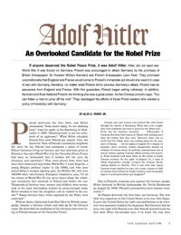 Adolf Hitler—An Overlooked Candidate for the Nobel Prize