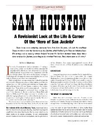 Sam Houston—A Revisionist Look at the Life & Career of the 'Hero of San Jacinto'
