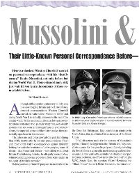 Mussolini & Churchill—Their Little-Known Personal Correspondence Before and During World War II