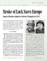 Stroke of Luck Saves Europe, by Peter Strahl